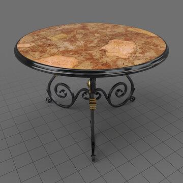 Round wrought iron table