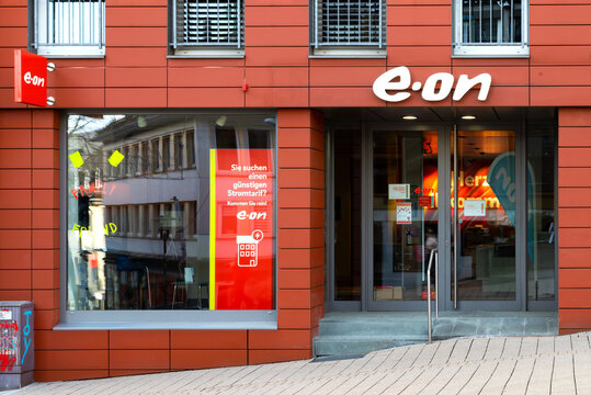 Logo of E.ON taken in the city of Siegen. E.ON is a German electric utility company and is one of the world's largest investor-owned electric utility service providers.