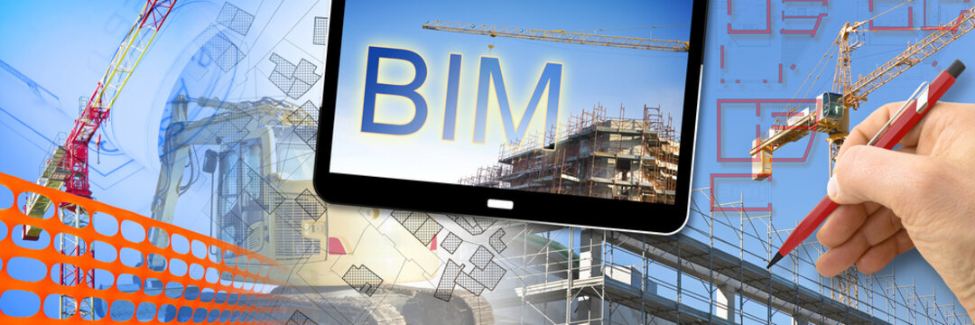 Building Information Modeling, BIM, a new way of architecture designing - concept image with metal scaffolding, tower crane, construction machinery in a construction site