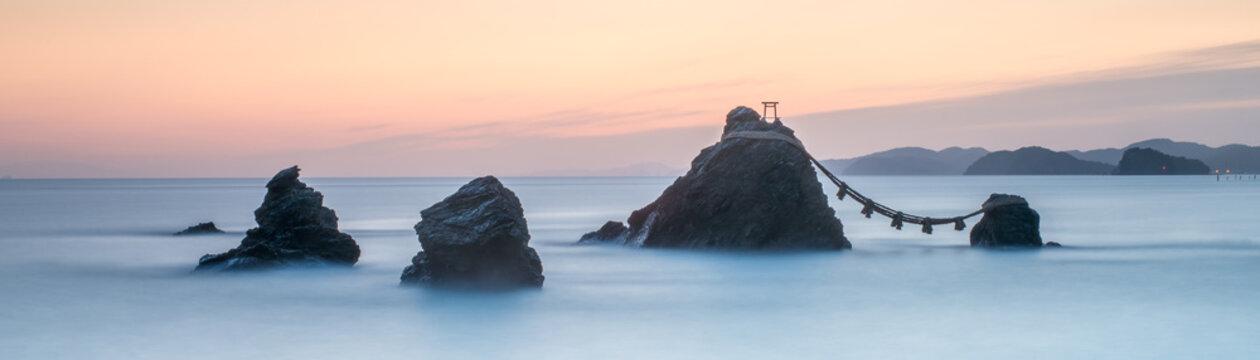 Sacred Meoto Iwa Rocks also known as the Married Couple Rocks, Futami, Mie Prefecture, Japan