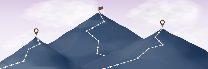 Fototapeta Route to top of mountain. Climbing path to mountain peak with flag. cloud in the sky. obraz