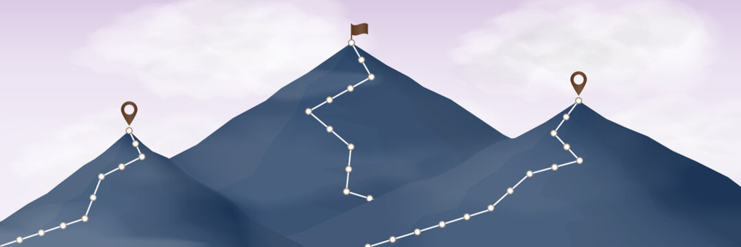 Route to top of mountain. Climbing path to mountain peak with flag. cloud in the sky.