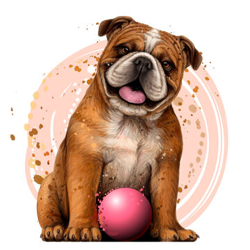 Bulldog with the ball. Wall sticker. Color, graphic portrait of an English bulldog in watercolor style on a white background. Separate layers. Digital vector graphics.