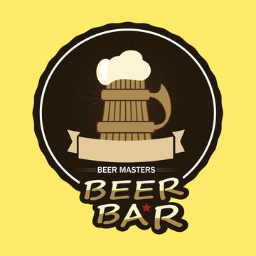 Alcohol, bar, beer, beer house, brew, circle logo, club, drink, glass, Glass Of Beer, unique, Yellow Logo