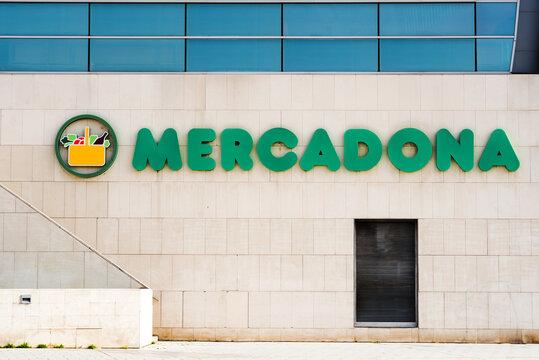 Mercadona store.Spanish Mercadona supermarket logo on a facade outdoors