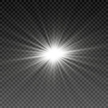 Special design of sunlight or light effect. Star, sun or spotlight beams. Light PNG. Decor element. Isolated transparent background.