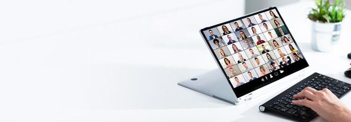 Fototapeta Woman selecting new house on laptop at home obraz