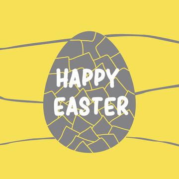 Single grey easter egg on yellow bg poster