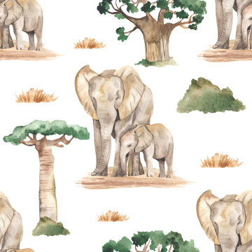 Watercolor seamless pattern mom and baby elephants in the African savannah with baobabs and dry grass on a white background