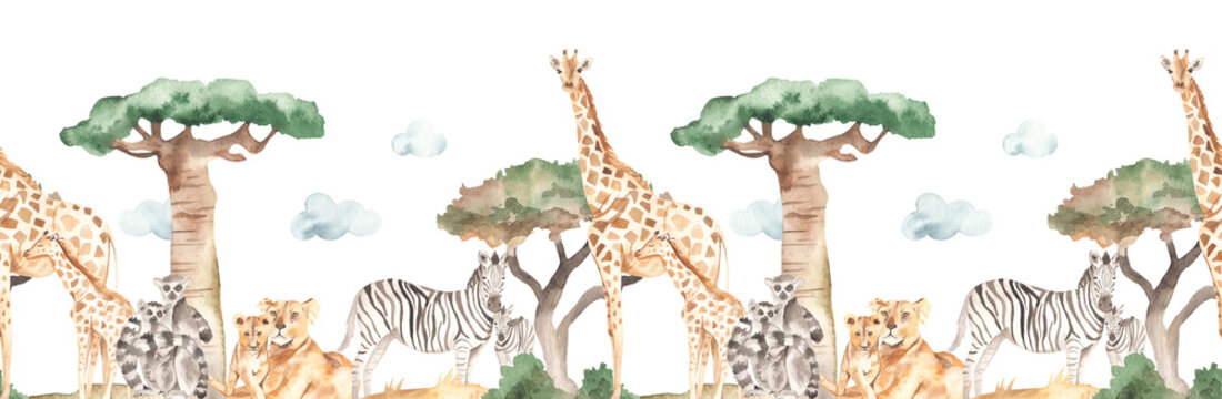 Watercolor seamless border mom and baby with giraffes, lemurs, zebras, lions in the savannah