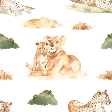 Watercolor seamless pattern mom and baby lions and leopards in the African savannah with dry grass on a white background