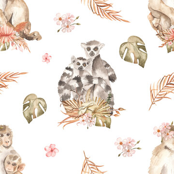 Watercolor seamless pattern mom and baby with lemurs and monkeys and bouquets of dried flowers on a white background