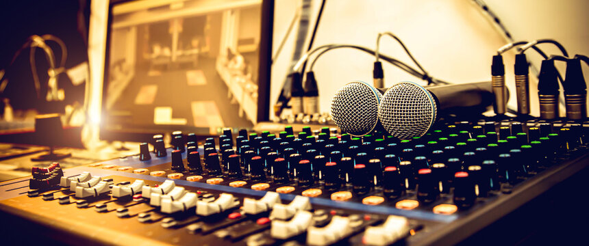 Microphone and audio mixer and microphone in studio for sound control system and recording equipment and music instrument.