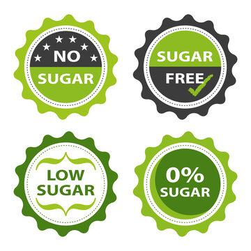 Four food product designs of no sugar, sugar free, low sugar, and 0% sugar.