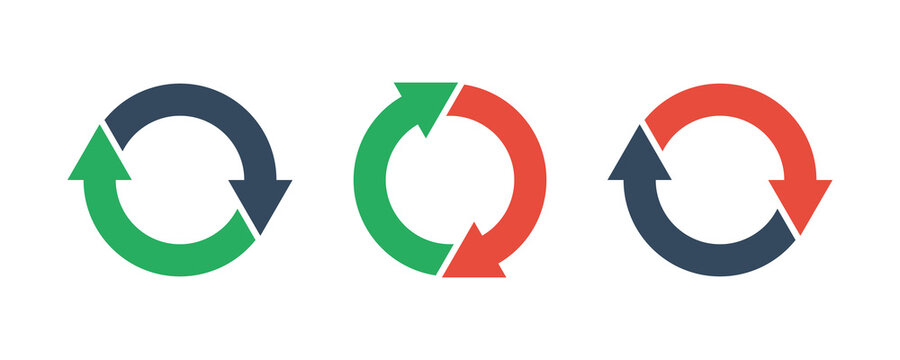 two round arrows set, vector icon
