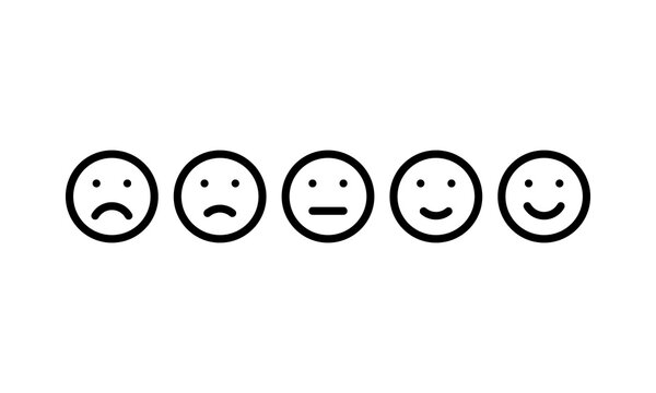 five different moods smiles, black outline vector icons set