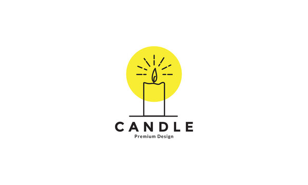 hipster lines candle with light logo design vector icon symbol graphic illustration