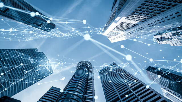 Imaginative visual of smart digital city with globalization abstract graphic showing connection network . Concept of future 5G smart wireless digital city and social media networking systems .