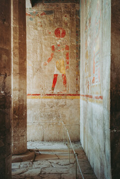 Ra-Horakhty Relief in the Anubis Chapel in the Temple of Hatshepsut in Egypt