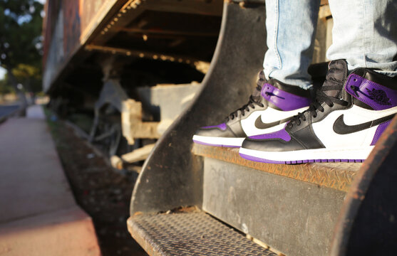 Nike Air Jordan 1 Retro High OG Court Purple street fashion sneakers - Jalisco Mexico - January - 2021