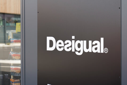 Desigual logo brand and text shop sign of spanish store clothing boutique
