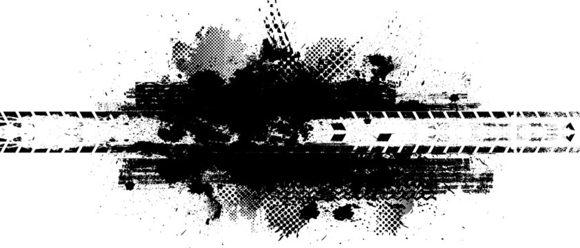 Vector Print Textured Tire Track . Design Element . Car tread silhouette . off road Mud splash grunge texture .