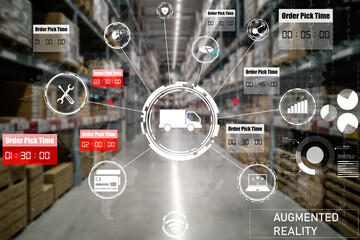 Fototapeta Smart warehouse management system using augmented reality technology to identify package picking and delivery . Future concept of supply chain and logistic business . obraz