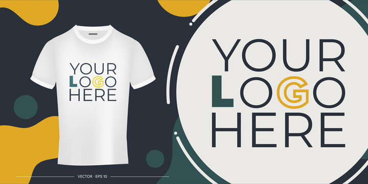 Template for design and presentation of a logo or print on a white t-shirt. Your logo on a t-shirt banner. Vector illustration.