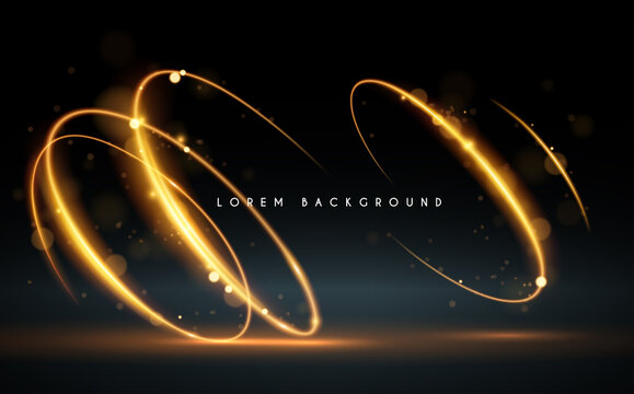 Golden swirl lines background with glow effect