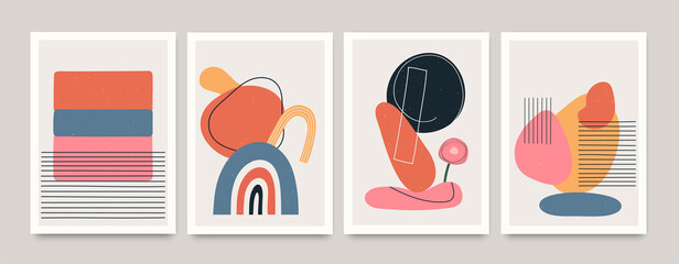 Fototapeta Set of minimalistic geometric art posters with elements of geometric shapes and lines. Modern contemporary creative trendy abstract templates vector illustration. obraz