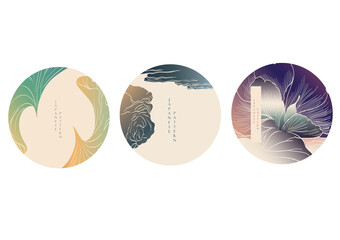 Japanese background with Hand drawn wave pattern vector. Abstract art template with line pattern. Chinese ocean sea with icon design in vintage style.