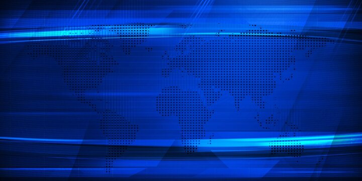 Modern Blue Broadcasting background with world map and Free Copy space