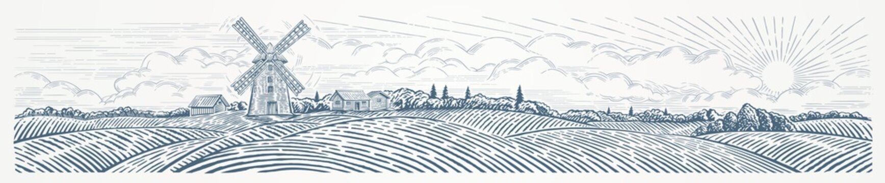 Rural landscape panoramic format with a Windmill. Hand drawn Illustration in engraving style.
