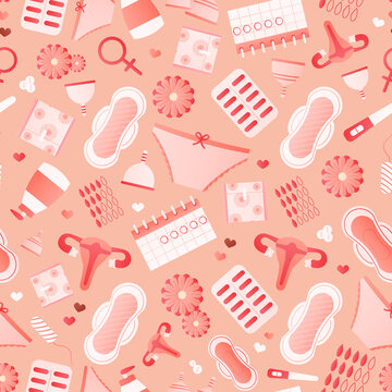 Women hygiene objects seamless pattern with pads, menstrual cups, pills, tampons, monthy cycle
