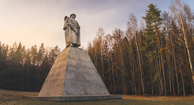 Trocnov, Czech republic - 02 26 2021: Memorial to Czech national hero Jan Zizka, statue of John Zizka of Trocnov, military leader of the Hussites