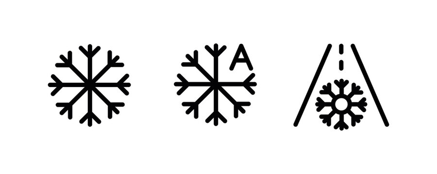 Vector icons of vehicle dashboard indicators. Such symbols include snowy weather, automatic snow removal and snow road panel. Editable line icon.