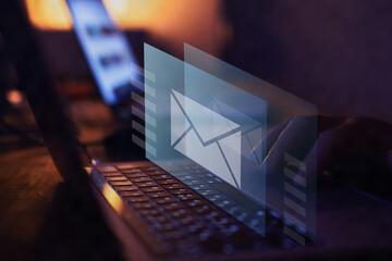 Fototapeta email marketing concept, send e-mail or newsletter