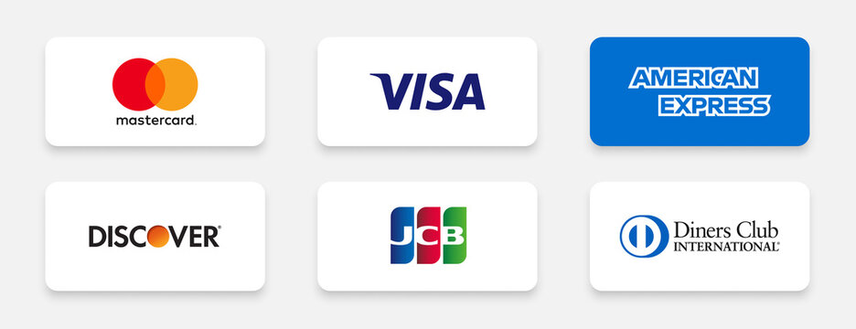 popular credit card companies logos including mastercard visa american express and more