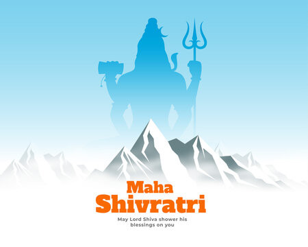 maha shivratri festival card with lord shiva on kailash parwat