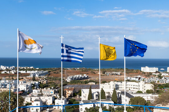Flags - Cyprus, Greece, Orthodox Church and European Union in Republic of Cyprus