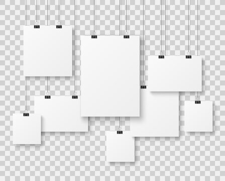Blank picture gallery. Presentation paper posters, photo canvas clean advertising hanging banner on strings vector