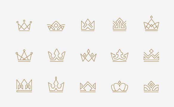 Abstract minimal thin line crown icon set - Editable Stroke