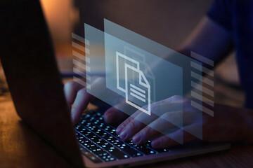 Obraz document management concept, online documentation to share or edit remotely via internet - fototapety do salonu