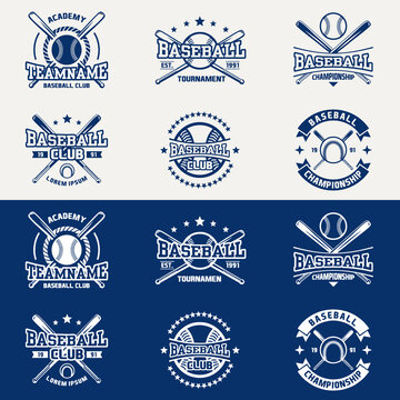 Vintage baseball logos, emblems, badges and design elements. Vector illustration. graphic Art. for t-shirt, club or championship