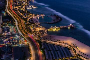 Fototapeta Cityscape of Jeddah seashore