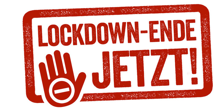 Red stamp with the german words for Lockdown end now - Lockdown-Ende jetzt isolated