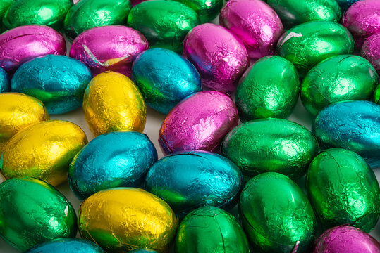 easter chocolate eggs in colored foil