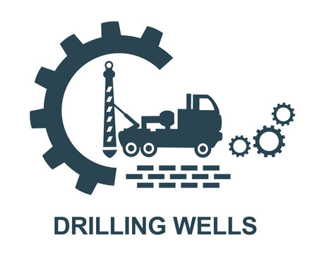 Vector illustration of the logo, icon, and well drilling sign. Web, auto.