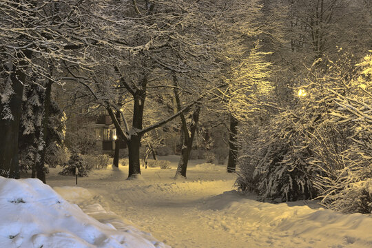 A fabulously snow-capped residential estate in the evening time