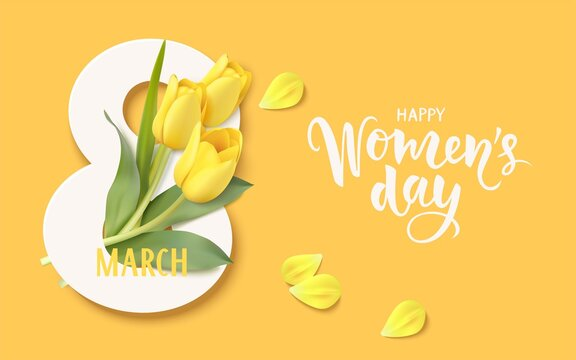 Happy Womens Day. 8 March design template. Calligraphic lettering text with decorative gift box and yellow tulip flowers. Flat lay. Vector stock illustration